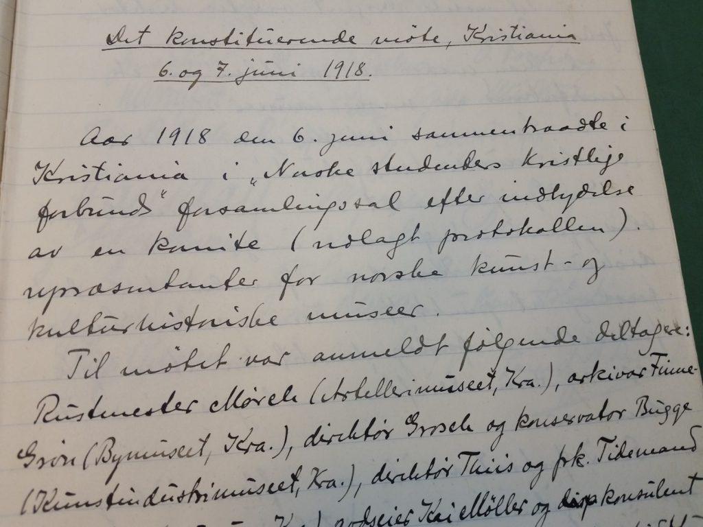 Dokumentside av referatet fra stiftelsesmøtet 6. juni 1918