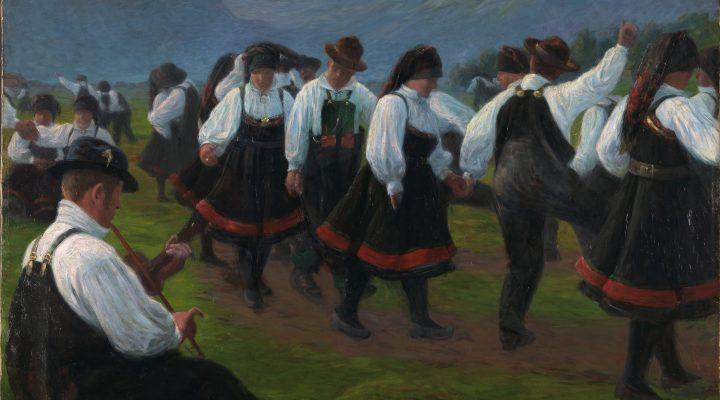 Dans i Setesdal, olje på lerret, 1891.
