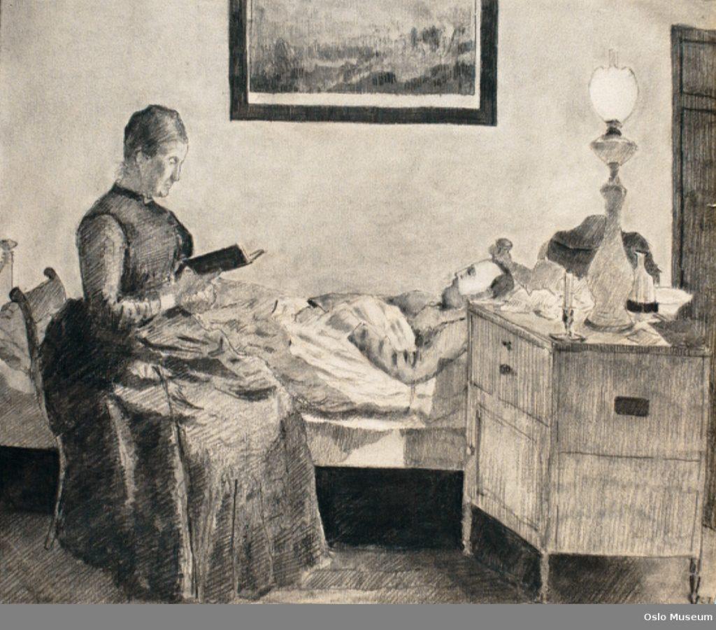 Dame leser på sengen for sin syke mann.