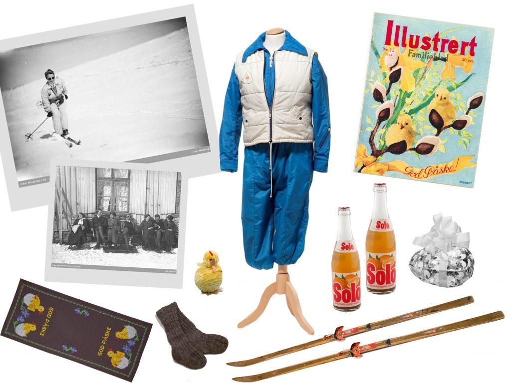 Collage av klassiske påskerekvisitter. Skidress, polaroidbilder av påskestemning, magasincover med påskekyllinger, ski, solo, raggsokker, påskepynt.